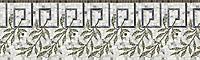 "12 1/8"" Cyrano border, a hand-cut stone mosaic, shown in polished Calacatta Tia, Bardiglio, Chartreuse, Verde Luna, honed Montevideo."