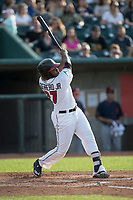 Lansing Lugnuts designated hitter Vladimir Guerrero Jr. (27) swings the bat during the Midwest League baseball game against the Bowling Green Hot Rods on June 29, 2017 at Cooley Law School Stadium in Lansing, Michigan. Bowling Green defeated Lansing 11-9 in 10 innings. (Andrew Woolley/Four Seam Images)