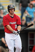 Brett Wallace (39) of the Oklahoma City RedHawks at bat during the Pacific Coast League game against the Round Rock Express at Chickashaw Bricktown Ballpark on June 14, 2013 in Oklahoma City ,Oklahoma.  (William Purnell/Four Seam Images)