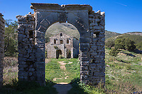 Derelict abandoned Skordilis Mansion house in ancient mountain village of Old Perithia - Palea Peritheia, Corfu, Greece