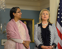 October 12, 2011  (Washington, DC)  Secretary of State Hillary Clinton held a bilateral meeting with Bangladeshi Foreign Minister Dipu Moni (left) at the State Department in Washington.   (Photo by Don Baxter/Media Images International)