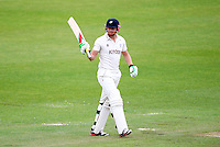 PICTURE BY VAUGHN RIDLEY/SWPIX.COM - Cricket - County Championship, Div 2 - Yorkshire v Northamptonshire, Day 3  - Headingley, Leeds, England - 01/06/12 - Yorkshire's Jonny Bairstow celebrates his half-century.
