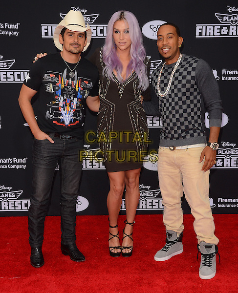 15 July 2014 - Hollywood, California - Brad Paisley, Kesha, Ludacris. Arrivals for the premiere of Disney's &quot;Planes: Fire and Rescue&quot; held at the El Capitan Theater in Hollywood, Ca. <br /> CAP/ADM/BT<br /> &copy;BT/ADM/Capital Pictures