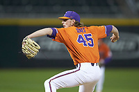 Clemson Tigers relief pitcher Holt Jones (45) in action against the Charlotte 49ers at BB&T BallPark on March 26, 2019 in Charlotte, North Carolina. The Tigers defeated the 49ers 8-5. (Brian Westerholt/Four Seam Images)