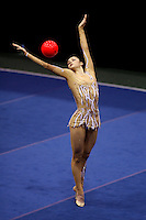 Anna Bessonova of Ukraine (shot from balcony above) moment with ball at San Francisco Invitational on February 11, 2006. Bessonova won All-Around competition. (Photo by Tom Theobald)