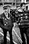 Warsaw 04/2010 Poland<br /> People mourning the tragic death of President Lech Kaczynski and his wife in front of the presidential residence.<br /> on picture: seller<br /> Photo: Adam Lach / Napo Images for The New York Times<br /> <br /> Zaloba po tragicznej smierci Prezydenta Lecha Kaczynskiego i jego malzonki,ul. Krakowskie Przedmiescie przed Palacem Prezydenckim.<br /> na zdjeciu: sprzedawcy znaczkow.<br /> Fot: Adam Lach / Napo Images dla The New York Times
