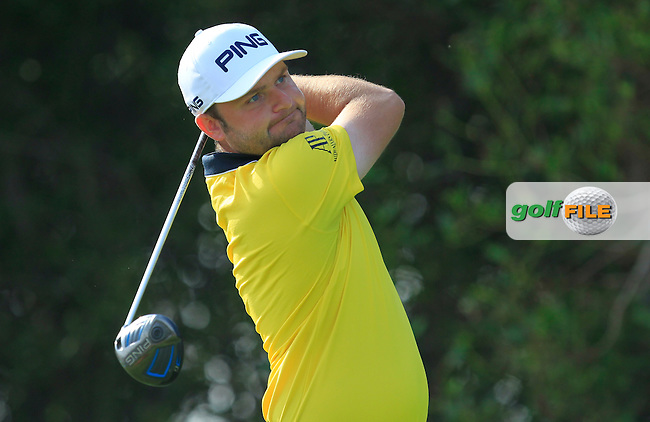 Andy Sullivan (ENG) on the 5th tee during Round 4 of the Abu Dhabi HSBC Championship on Sunday 22nd January 2017.<br /> Picture:  Thos Caffrey / Golffile<br /> <br /> All photo usage must carry mandatory copyright credit     (&copy; Golffile | Thos Caffrey)