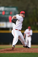 Ball State Cardinals pitcher Matt Haro (26) during a game against the Maine Black Bears on March 3, 2015 at North Charlotte Regional Park in Port Charlotte, Florida.  Ball State defeated Maine 8-7.  (Mike Janes/Four Seam Images)