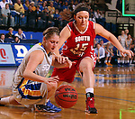 BROOKINGS, SD - FEBRUARY 2:  Tara Heiser #12 from South Dakota State battles for the loose ball with Kelly Stewart #15 from the University of South Dakota in the first half of their game Sunday afternoon at Frost Arena in Brookings. (Photo by Dave Eggen/Inertia)