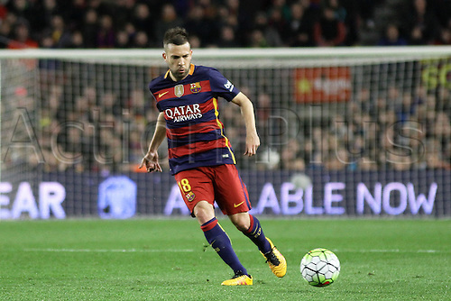 28.02.2016. Nou Camp, Barcelona, Spain. La Liga football match. Barcelona versus Sevilla. Jordi Alba in action during the match