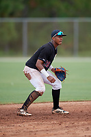 Sabin Ceballos (28) during the WWBA World Championship at the Roger Dean Complex on October 11, 2019 in Jupiter, Florida.  Sabin Ceballos attends Puerto Rico Baseball Academy in Rio Grande, PR and is committed to Bethune-Cookman/San Jacinto CC.  (Mike Janes/Four Seam Images)