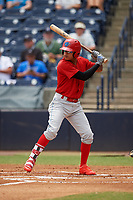 Clearwater Threshers shortstop Arquimedes Gamboa (7) at bat during a game against the Tampa Tarpons on April 22, 2018 at George M. Steinbrenner Field in Tampa, Florida.  Clearwater defeated Tampa 2-1 (Mike Janes/Four Seam Images)
