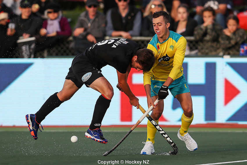 Aidan Sarikaya. Pro League Hockey, Vantage Blacksticks Men v Australia, ANZAC test. North Harbour Hockey Stadium, Auckland, New Zealand. Thursday 25 April 2019. Photo: Simon Watts/Hockey NZ