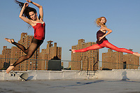 Gregory Holmgren Photographer, NYC dance, movement project with model, dancers Allison Jones and Julie Justine at The ClockTower Rooftop, Bronx, New York, New York, September 12, 2012.