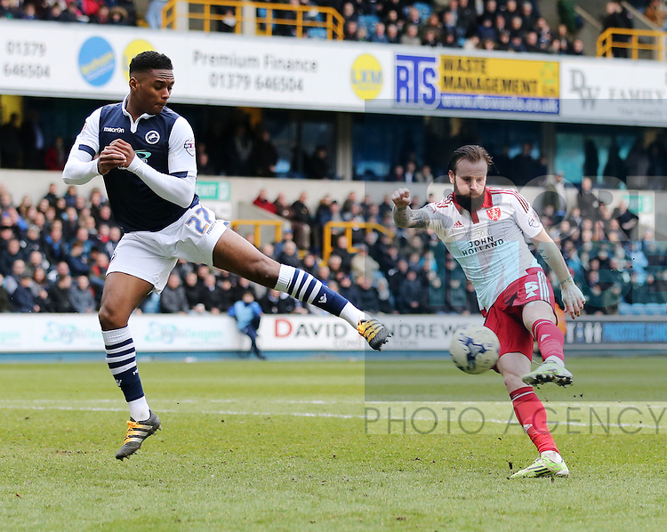 Sheffield United's John Brayford fires in a shot during the League One match at The Den.  Photo credit should read: David Klein/Sportimage