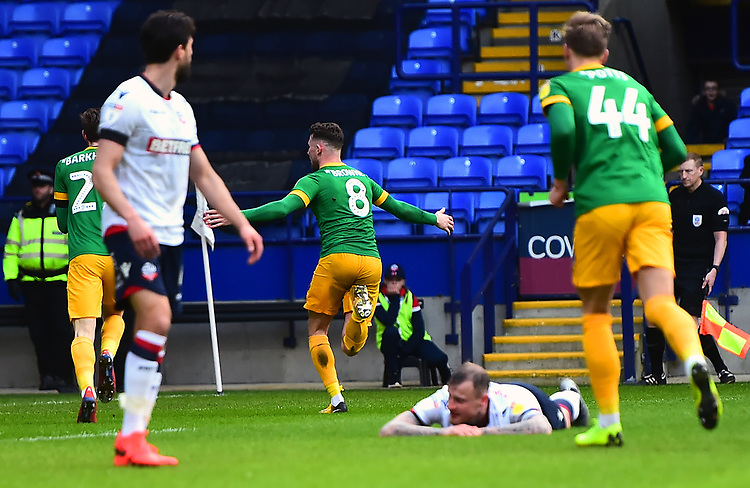 Preston North End's Alan Browne celebrates scoring his side's first goal <br /> <br /> Photographer Richard Martin-Roberts/CameraSport<br /> <br /> The EFL Sky Bet Championship - Bolton Wanderers v Preston North End - Saturday 9th February 2019 - University of Bolton Stadium - Bolton<br /> <br /> World Copyright © 2019 CameraSport. All rights reserved. 43 Linden Ave. Countesthorpe. Leicester. England. LE8 5PG - Tel: +44 (0) 116 277 4147 - admin@camerasport.com - www.camerasport.com