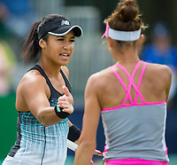 Heather Watson shares a word with her partner Mihaela Buzarnescu<br /> <br /> Photographer Alex Dodd/CameraSport<br /> <br /> Tennis - WTA World Tour - Nature Valley Open Tennis Tournament - Day 3 - Wednesday 13th June 2018 - Nottingham Tennis Centre - Nottingham<br /> <br /> World Copyright &copy; 2018 CameraSport. All rights reserved. 43 Linden Ave. Countesthorpe. Leicester. England. LE8 5PG - Tel: +44 (0) 116 277 4147 - admin@camerasport.com - www.camerasport.com