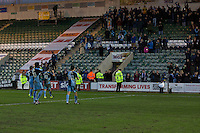 Wycombe players celebrate with their fans at full time of the Sky Bet League 2 match between Plymouth Argyle and Wycombe Wanderers at Home Park, Plymouth, England on 30 January 2016. Photo by Mark  Hawkins / PRiME Media Images.