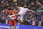 13.01.2013 Granollers, Spain. IHF men's world championship, prelimanary round. Picture show Cedric Sorhaindo   in action during game between France vs Montenegro at Palau d'esports de Granollers