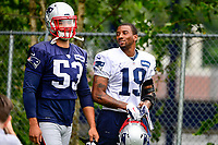 July 27, 2017: New England Patriots linebacker Kyle Van Noy (53) and wide receiver Malcolm Mitchell (19) walk to the field at the New England Patriots training camp held on the at Gillette Stadium, in Foxborough, Massachusetts. Eric Canha/CSM