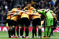 1st March 2020; Tottenham Hotspur Stadium, London, England; English Premier League Football, Tottenham Hotspur versus Wolverhampton Wanderers; Raul Jimenez of Wolverhampton Wanderers looks over the team huddle before kick off