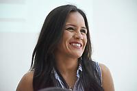 """MONTERIA - COLOMBIA, 18-05-2018:Conferencia de prensa con la boxeadora Yazmín """"La rusita """"Rivas de México retadora de la colombiana  Liliana """"La Tigresa"""" Palmera de Montería , antes de la pelea por el títiulo Mundial Super Gallo a realizarse en  el coliseo """"Happy Lora """" de esta ciudad , mañana Sábado ./ Press conference with boxer Yazmín Rivas of Mexico, challenger of the Colombian Liliana """"La Tigresa"""" Palmera de Montería, before the fight for the title World Super Gallo to be held at the Coliseum """"Happy Lora"""" of this city, tomorrow Saturday. Photo: VizzorImage / Andrés Felipe López Vargas / Contribuidor"""