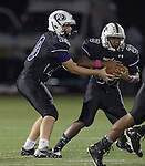 Daryl Lydon hands off to CJ Rittenhouse in the second quarter against Rouse Friday at Dragon Stadium.  (LOURDES M SHOAF for Round Rock Leader.)