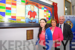 Gemma,  Elma and Finbarr  Walsh at the  unveiling of the  donal walsh 'petition for living' memorial window by Bishop of Kerry Ray Browne at CBS 'The Green' on Tuesday