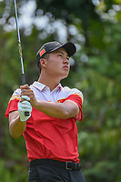 Yuxin LIN (CHN) watches his tee shot on 7 during Rd 4 of the Asia-Pacific Amateur Championship, Sentosa Golf Club, Singapore. 10/7/2018.<br /> Picture: Golffile | Ken Murray<br /> <br /> <br /> All photo usage must carry mandatory copyright credit (&copy; Golffile | Ken Murray)
