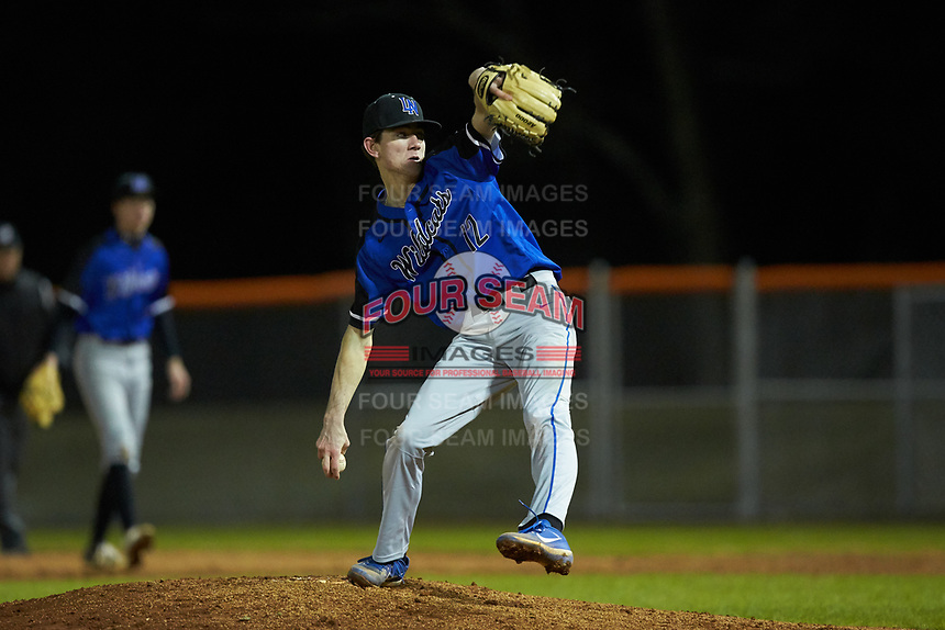 Lake Norman Wildcats starting pitcher Justin Jarvis (12) in action against the Davie War Eagles at Davie County High School on March 7, 2018 in Mocksville, North Carolina.  The Wildcats defeated the War Eagles 12-0.  (Brian Westerholt/Four Seam Images)
