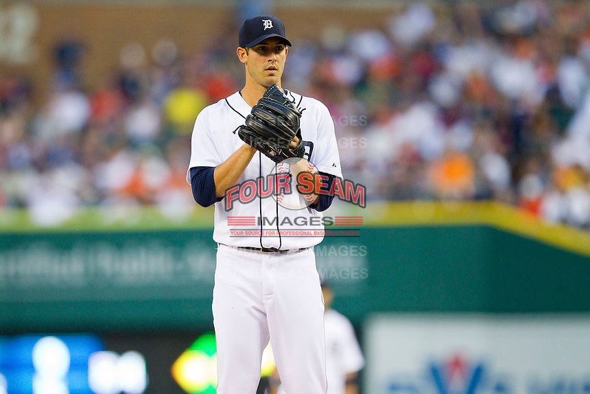 Detroit Tigers starting pitcher Rick Porcello (21) looks to his catcher for the sign against the Los Angeles Angels at Comerica Park on June 25, 2013 in Detroit, Michigan.  The Angels defeated the Tigers 14-8.  (Brian Westerholt/Four Seam Images)