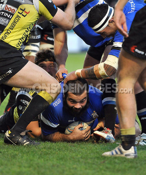 Kane Palma-Newport is all smiles after scoring a try. Amlin Challenge Cup match, between Bath Rugby and Calvisano on December 8, 2012 at the Recreation Ground in Bath, England. Photo by: Patrick Khachfe / Onside Images