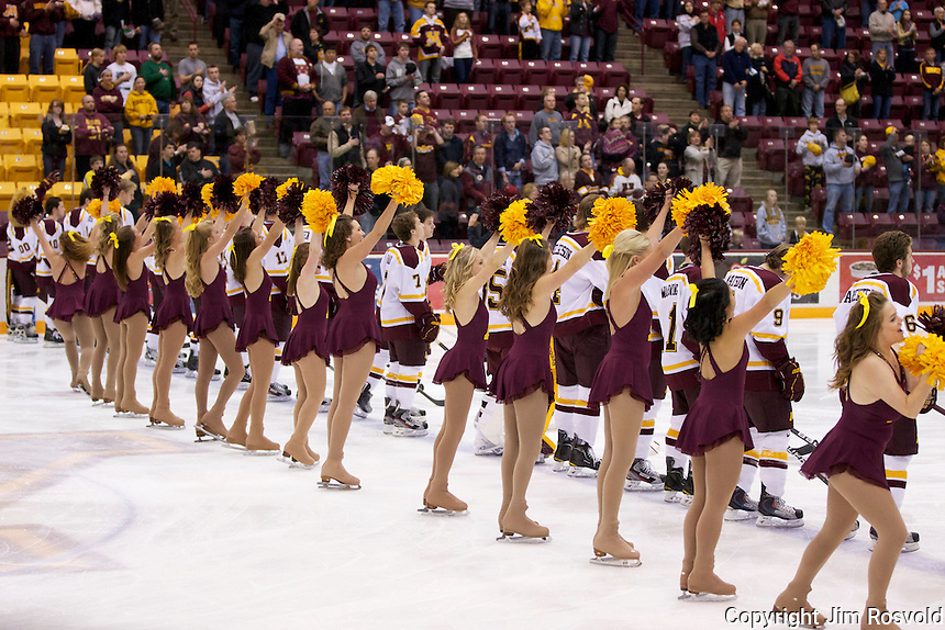 21 Oct 11: Cheer Team and Team at the conclusion of the National Anthem. The University of Minnesota Golden Gophers host the University of Vermont Catamounts in a non-conference matchup at Mariucci Arena in Minneapolis, MN.