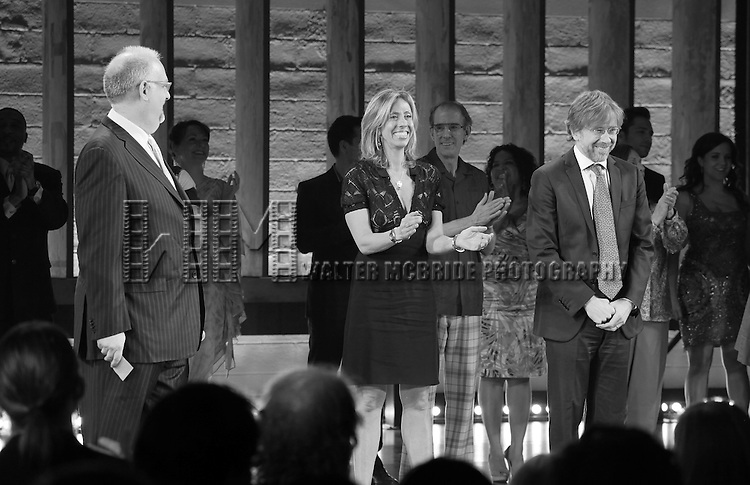 Doug Wright, Amanda Green & Trey Anastasio  during the 'Hands On A Hard Body' Broadway opening night Curtain Call at The Brooks Atkinson Theatre in New York City on 3/21/2013.