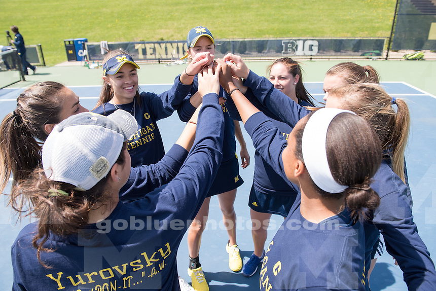 The University of Michigan women's tennis team defeats Illinois, 4-0, at the Varsity Tennis Center in Ann Arbor, MI. on April 24, 2016.