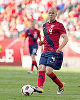USA midfielder Michael Bradley (4) passes the ball. In a friendly match, Spain defeated USA, 4-0, at Gillette Stadium on June 4, 2011.