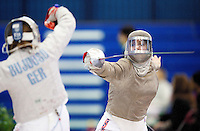 27 FEB 2011 - LONDON, GBR - Britain's Joanna Hutchison during her match against Germany's Alexandra Bujdoso at fencing's  England Cup team sabre tournament at the National Sports Centre at Crystal Palace (PHOTO (C) NIGEL FARROW)