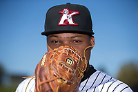 Kannapolis Intimidators relief pitcher Luis Ledo (39) poses for a photo prior to the game against the Lakewood BlueClaws at Kannapolis Intimidators Stadium on April 9, 2017 in Kannapolis, North Carolina.  The BlueClaws defeated the Intimidators 7-1.  (Brian Westerholt/Four Seam Images)