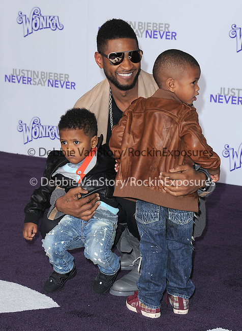 "Usher Raymond and sons attends the Paramount Pictures' L.A. Premiere of ""JUSTIN BIEBER: NEVER SAY NEVER."" held at The Nokia Theater Live in Los Angeles, California on February 08,2011                                                                               © 2010 DVS / Hollywood Press Agency"