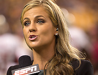 ESPN sideline reporter Samantha Ponder. Florida State defeated Pitt 41-13 at Heinz Field on September 2, 2013.