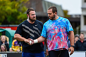 """16th March 2018, Retro Sports Facility, Christchurch, New Zealand;  Tom Walsh (NZ) and Ryan Whiting (USA) during """"The Big Shot""""  shot-put competition"""
