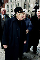 Montreal (Qc) CANADA - September 9, 2000<br /> -File Photo -  Louis Laberge arrive at the funeral of fellow union leader Marcel Pepin<br /> , held at Notre-Dame Basilica.