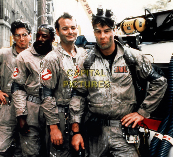 Ghostbusters (1984) <br /> Behind the scenes photo of Dan Aykroyd, Bill Murray, Harold Ramis &amp; Ernie Hudson<br /> *Filmstill - Editorial Use Only*<br /> CAP/KFS<br /> Image supplied by Capital Pictures