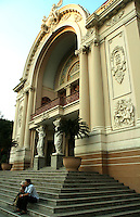 The Saigon Opera House in Ho Chi Minh City is an example of French Colonial architecture in Vietnam.<br />