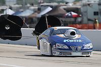 Apr. 26, 2013; Baytown, TX, USA: NHRA pro stock driver Steve Kent during qualifying for the Spring Nationals at Royal Purple Raceway. Mandatory Credit: Mark J. Rebilas-