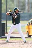 Oakland Athletics catcher Santis Sanchez (44) at bat during an exhibition game against Team Italy at Lew Wolff Training Complex on October 3, 2018 in Mesa, Arizona. (Zachary Lucy/Four Seam Images)