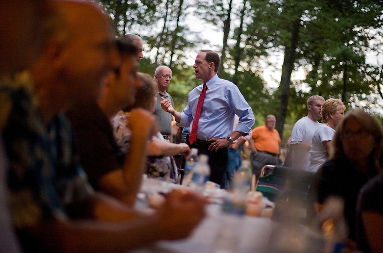 UNITED STATES - AUGUST 13:  Senate Candidate Pat Toomey, R-Pa., talks to guests at a political pig roast in Coopersburg, Pa.  Toomey is running against incumbent Sen. Arlen Specter, D-Pa. (Photo By Tom Williams/Roll Call via Getty Images)