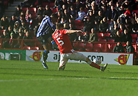 Moses Odubajo of Sheffield Wednesday shot blocked by Tom Lockyer of Charlton Athletic during Charlton Athletic vs Sheffield Wednesday, Sky Bet EFL Championship Football at The Valley on 30th November 2019
