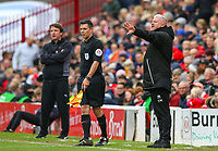 Blackpool's manager Terry McPhillips shouts instructions to his team from the technical area<br /> <br /> Photographer Alex Dodd/CameraSport<br /> <br /> The EFL Sky Bet League One - Barnsley v Blackpool - Saturday 27th April 2019 - Oakwell - Barnsley<br /> <br /> World Copyright © 2019 CameraSport. All rights reserved. 43 Linden Ave. Countesthorpe. Leicester. England. LE8 5PG - Tel: +44 (0) 116 277 4147 - admin@camerasport.com - www.camerasport.com