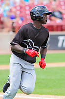 Quad Cities River Bandits outfielder Daz Cameron (16) rounds first base during a Midwest League game against the Wisconsin Timber Rattlers on June 27, 2017 at Fox Cities Stadium in Appleton, Wisconsin.  Quad Cities defeated Wisconsin 6-5. (Brad Krause/Four Seam Images)